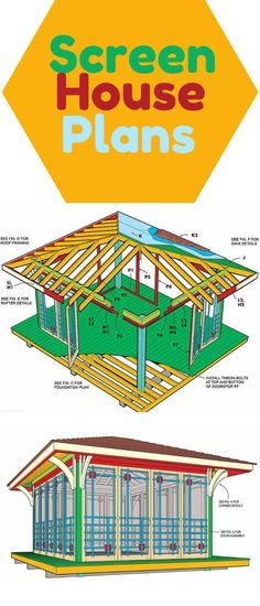 Screen House Plans: Inspired by classic north woods cabins, this cedar screen house is the perfect summer hangout. Complete plans and detailed how-to photos show everything you need to build it in your yard.  http://www.familyhandyman.com/garden-structures/screen-house-plans/view-all