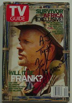 tv guides Survivor africa covers | Frank Garrison Survivor Signed Africa TV Guide For Sale