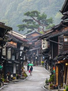 The Nakasendo is an old road in Japan that connects Kyoto to Tokyo. It was once a major foot highway, but today small sections retain some of its historical feel
