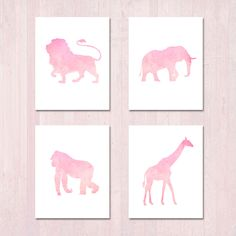 SET OF FOUR: Pink Watercolor Jungle Animal Nursery Theme Wall Art -- Instant Printable Download -- Pastel Safari Girls Play Room by BrunamontiBoutique on Etsy https://www.etsy.com/listing/265859700/set-of-four-pink-watercolor-jungle