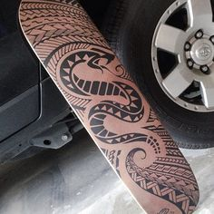 Painted a polynesian style snake design on a raw sector 9 deck, lucky to get my hands on 6 of them.this ones ready to thrash.or hang Snake Tattoo, Arm Tattoo, Motif Serpent, Snake Design, Samoan Tattoo, Tattoos For Guys, Cool Art, Deck, Carving