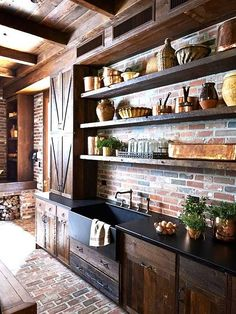 Unique Tips: Kitchen Remodel Cherry Paint Colors kitchen remodel dark cabinets rustic.Kitchen Remodel Must Haves Interiors farmhouse kitchen remodel pictures. Rustic Country Kitchens, Country Kitchen Designs, Southern Kitchens, Home Kitchens, Farmhouse Kitchens, Design Kitchen, Copper Farmhouse Sinks, Country Interior, Pantry Design