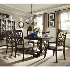 Trisha Yearwood Home Collection by Klaussner Trisha Yearwood Home Trestle Table with Arm and Side Chairs Set - Royal Furniture - Dining 7 (or more) Piece Set