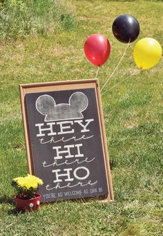 Classic & Crafty Mickey Mouse Birthday Party. Love the sign--but do a print or use Cricut fonts. Ain't nobody got time for chalkboards!