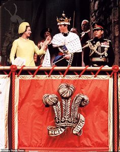 Beaming with pride, the Queen presented Charles to the public as the Prince of Wales at Queen Eleanor's Gate of Caernarfon Castle at Caernarvon Castle in Wales on July 1 1969 Prince Charles, Prince Philip, Prince Of Wales, Cambridge, Queen Eleanor, Castles In Wales, Poppy Wreath, Royal Jewels, Royal Crowns