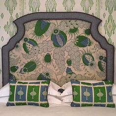 Regram from of Firmdale Hotels - a festive pallet of greens from Christopher Farr Cloth Hotel Bedroom Decor, Bedroom Furniture, Furniture Design, Headboard Shapes, Cloth Headboard, Cool Headboards, Art Deco Home, Passementerie, Interior Design Studio