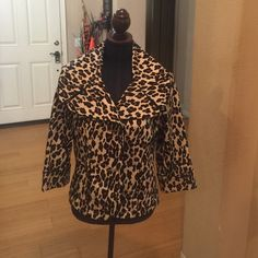 Jacket Leopard print jacket with black piping. 3/4 length sleeves. NWOT OUTERWEAR by Lisa Jackets & Coats Blazers