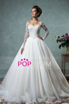 2016 Wedding Apparel A Line V Neck  Long Sleeves Tulle With Beading/Sequins White