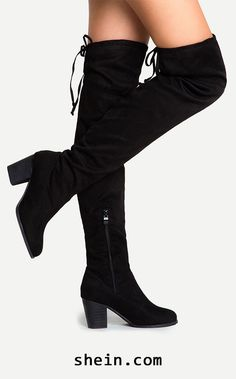 cce93477b59 Black Suede Lace Up Over The Knee Boots Women s Shoes... ...