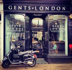 Gents of london barbershop shop front Vespa gts super sport