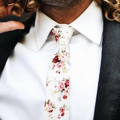 DAZI - White Floral - Cotton Skinny Tie