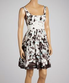 Look at this #zulilyfind! Aryeh Black & White Abstract Floral A-Line Dress - Women by Aryeh #zulilyfinds