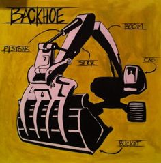 Custom Paintings  Giant Modern Backhoe 36x36 by RyanCaseyStudio, $400.00