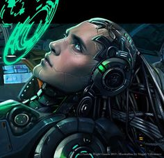 "Magali Villeneuve Portfolio: Netrunner ""Creation and Control"" box cover art"