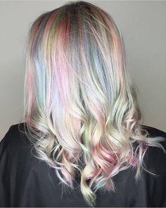 Pastel unicorn hologram hair | Hair by @erinm_hair | juju hair lounge Vancouver, BC, Canada @jujuhairlounge