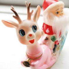 Vintage 1950s Soft Plastic Pink Reindeer and Santa .