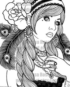 Gypsy Girl coloring book page from Carissa Rose.    Get yourself a high resolution printable file of this original Carissa Rose outline coloring page: