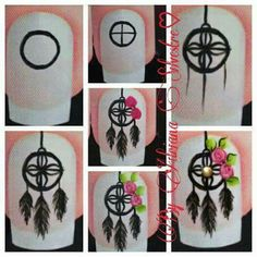 Uñas Nail Art Diy, Easy Nail Art, Cool Nail Art, Pretty Nail Art, Beautiful Nail Art, Wonder Nails, Dream Catcher Nails, Nail Drawing, Feather Nails