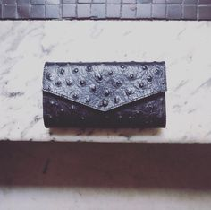 We're in love with our new black #ostrich print #leather #wallet | SHOP NOW | @madeinnyfashion #shop #madeinbrooklyn #independent #brand