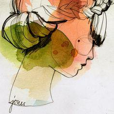 """Jouer"" #illustration #etsy #dawanda #fineartprint #girl #braid #jouer #lesfilles #artwork #green #red #summer #pencil #ink #colorful #ekaterinakoroleva #berlin"