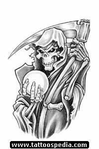 Devil Tattoos : Page 79 Grim Reaper Art, Grim Reaper Tattoo, Demon Tattoo, Leo Tattoo Designs, Skull Tattoo Design, Tattoo Design Drawings, Skull Stencil, Tattoo Stencils, Skull Art