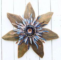 Rustic Wooden Flower Outdoor Wreath  Indigo Blue by SouvenirFarm, $129.00