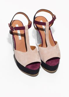 & Other Stories | T-Strap Suede Platform Sandals