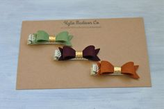 Fall petite hair bow clip set of 3 baby hair от KylieMadisonCo