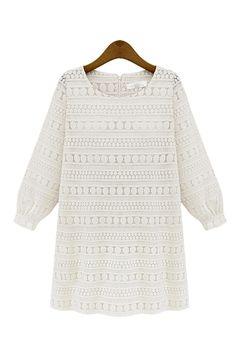 Cream White Crochet Lace Bohemian Mini Dress
