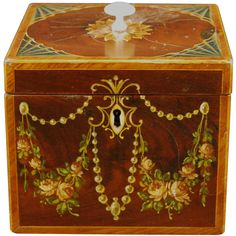 Adam Painted Tea Caddy 1785 | From a unique collection of antique and modern tea canisters at http://www.1stdibs.com/more-furniture-collectibles/tea-canisters/