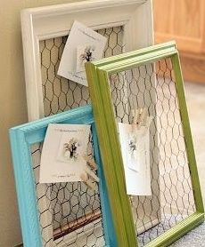Painted frame, chicken wire and clothespin card/picture holder