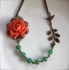 A Coral Rose Flower, Aventurine Gemstone Beads, an Oxidized Branch, Flying Swallow, Necklace. Holiday Gifts For Her. Bridesmaid Gifts.