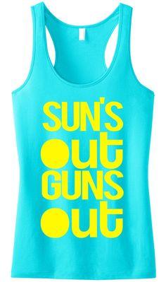 ec9f5fa4661 SUN S OUT GUNS OUT Aqua Tank Top by NoBull Woman Apparel