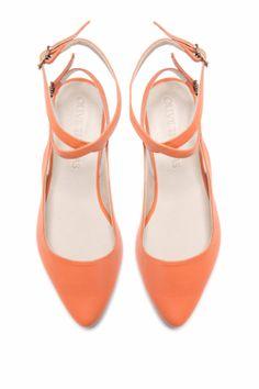 Womens Peach Pointed Flat Closed Sandal // US por OliveThomasShoes, $185.00