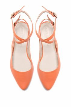 Womens Peach Pointed Flat Closed Sandal // US by OliveThomasShoes, $185.00