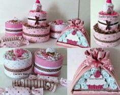 Pink and brown diaper cake