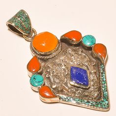 LAVISH TURQUOISE & RED,YELLOW CORAL WITH LAPIS LAZULI.925 SILVER JEWELRY PENDANT