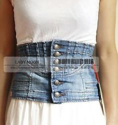 42 Ways To Reuse Old Denim - Part - Imagine a Corset made from old blue jeans- oh yeah! Creative and Cool Ways To Reuse Old Denim - Diy Jeans, Jean Crafts, Denim Crafts, Diy Clothing, Sewing Clothes, Estilo Jeans, Diy Vetement, Mode Jeans, Denim Ideas