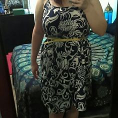 Floral Print dress - 14/16 Light weight dress, navy blue and white floral pattern and a yellow accent belt. Only worn once , in perfect condition. Lane Bryant Dresses Midi