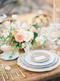 Elegant slate dinnerware and gold flatware table decor: Photography: Kayla Barker Fine Art Photography - kaylabarker.com Read More on SMP: http://www.stylemepretty.com/california-weddings/2017/04/18/kayla-barker-bows-arrows-floral-photography-workshop-joshua-tree/