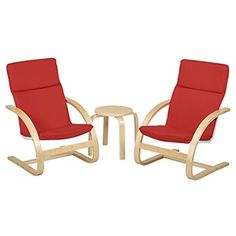Natural Bentwood Children's Table And Chair, Birch Finish With Red Cushions Set) #Doesnotapply