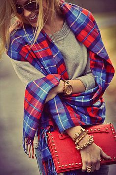 Cute Check Scarf With Red Stud Purse