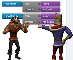 Storybricks es un nuevo servicio (aún en modo alfa) para la creación de capas múltiples historias en línea. Ofrece escenarios y personajes que se pueden utilizar para tejer una narración, todos pueden tener emociones y relaciones con otros personajes. Usted define las emociones de un personaje en respuesta a las acciones de otro.
