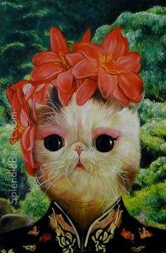 Kimono cat oil painting kitty art from Splendid Beast