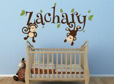 Boys Monkey Name Decal Monkey Decal Swinging by NewYorkVinyl, $28.00