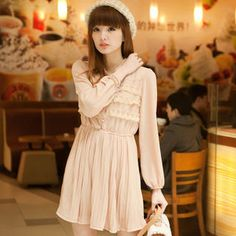Lace- trim pleated dress