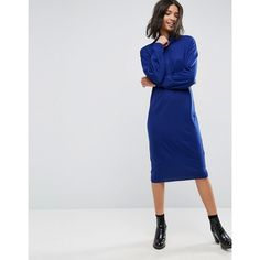 ASOS Knitted Dress In Midi Length With High Neck (2.915 RUB) via Polyvore featuring dresses, asos dresses и asos