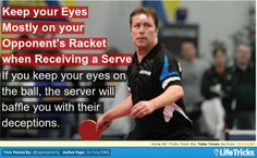Table Tennis - Keep your Eyes Mostly on your Opponent's Racket when Receiving a Serve