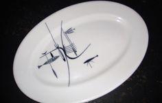 Shenango Well Of The Sea Oval Fish Plate Stylized Fish Atomic Mobile Restaurant #Shenango