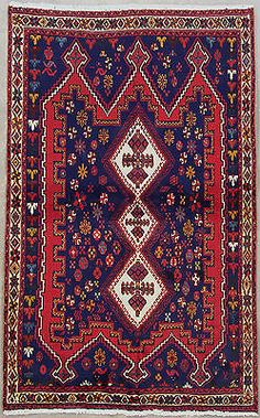 Blue Tribal Persian AFSHAR Oriental Hand Knotted Wool Area Rug Carpet 4X6